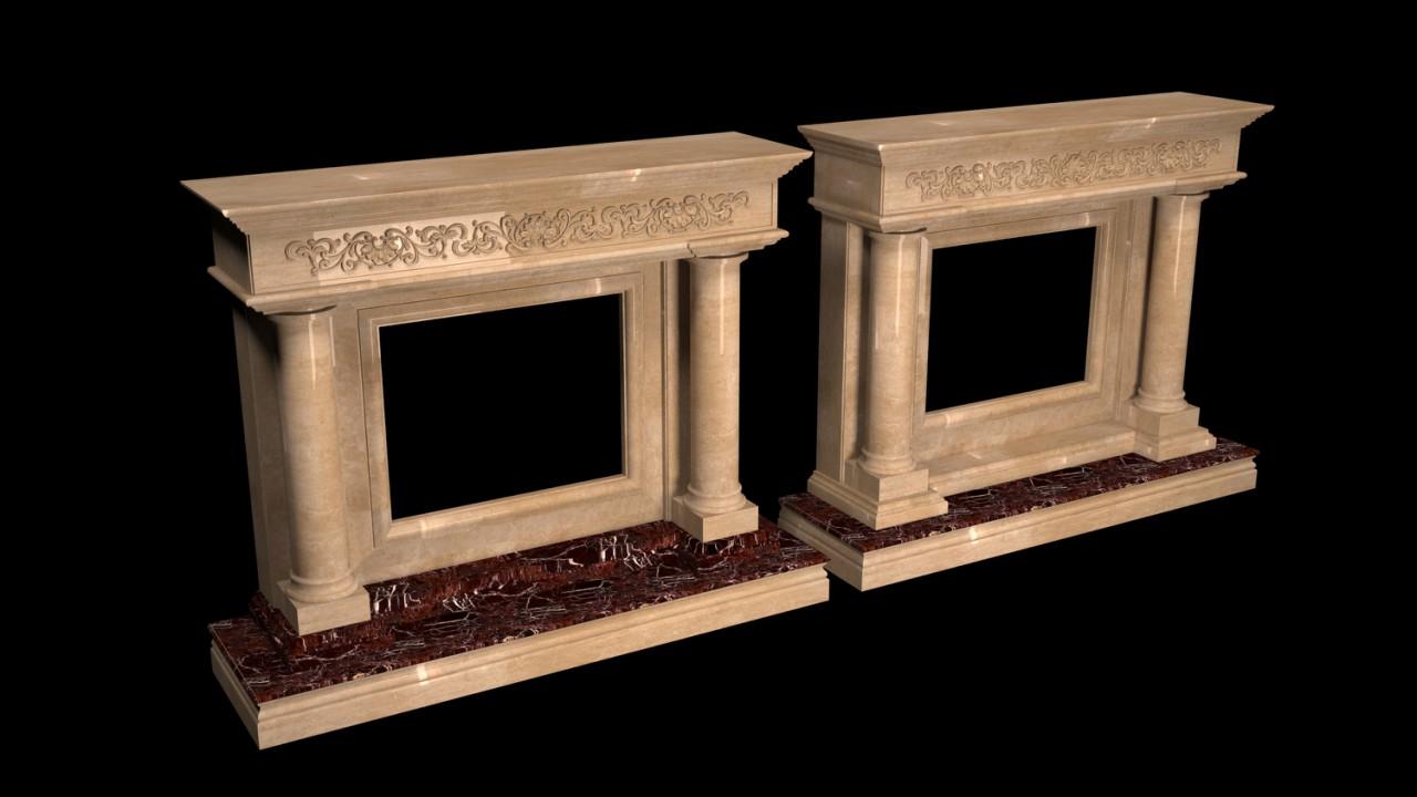 Визуализация камина из мрамора