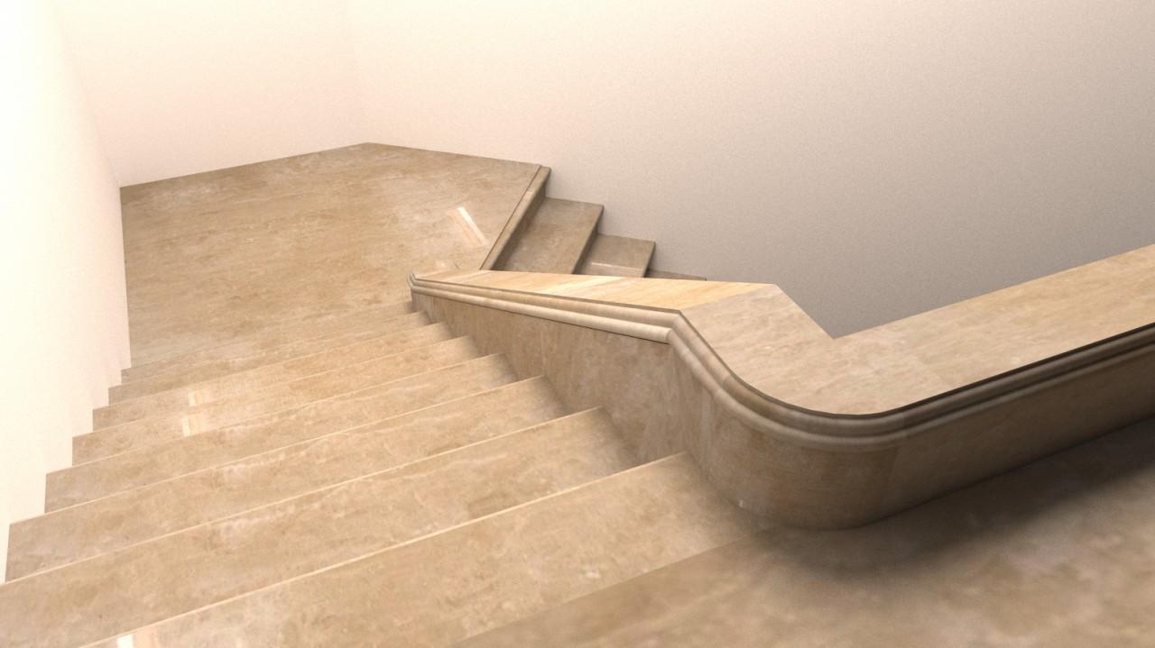 Лестница из мрамора , показана накрывка из мрамора