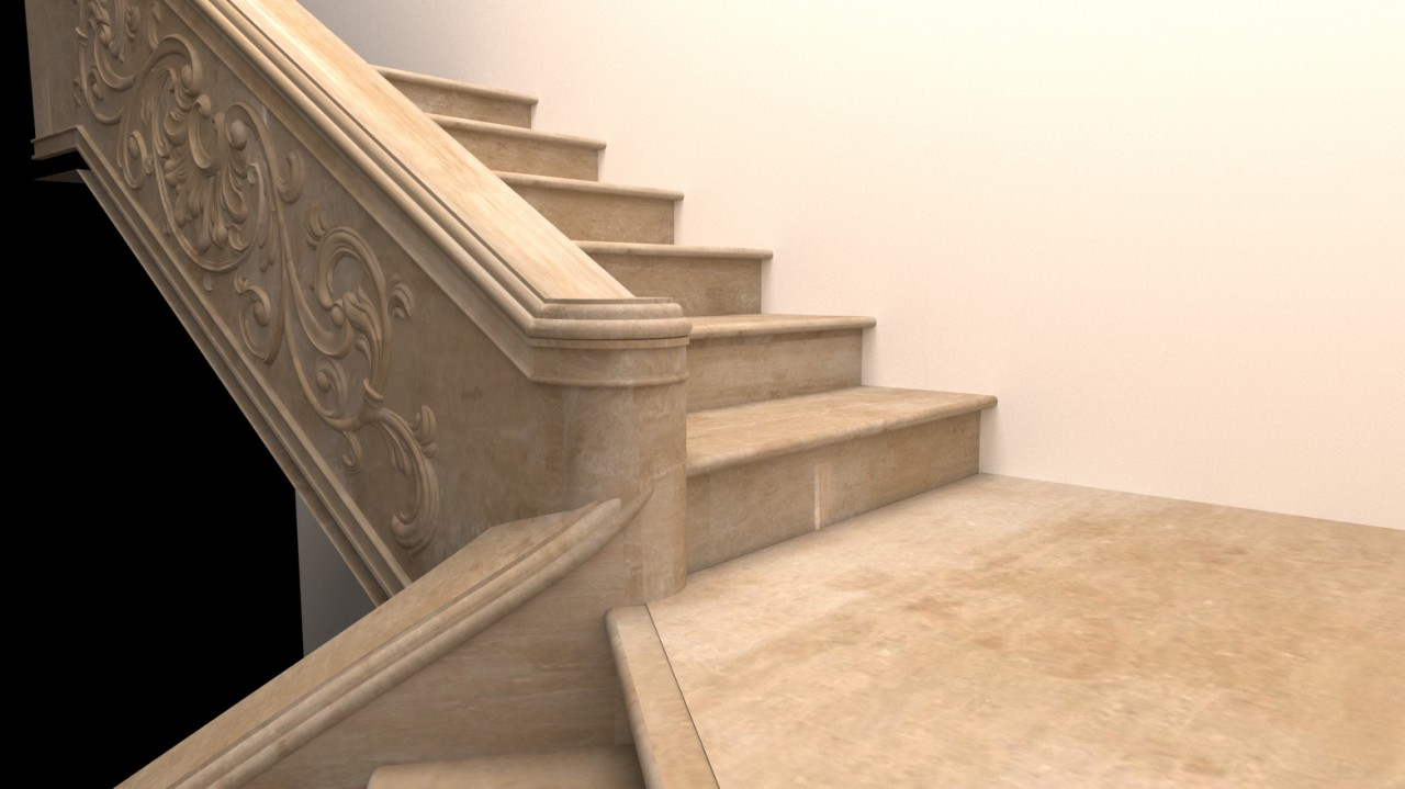 Лестница из мрамора , показан центральный узел